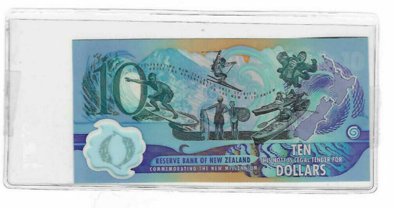 2000 Millennium Commemorative New Zealand 10 Dollars Polymer Bank Note