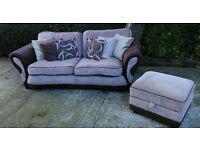 Lovely chocolate suede & beige chenille 3 seater Sofa & footstool - can deliver