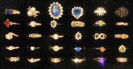 A selection of 30 Ladies variable sized and coloured dress/ Costume rings