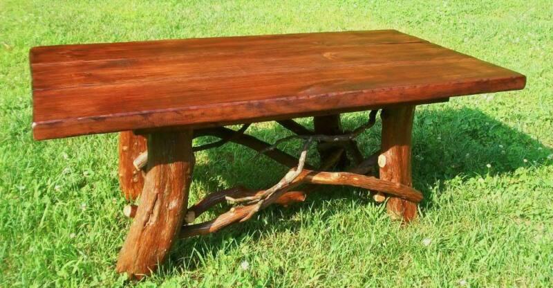 Tree Trunk Rustic Wood Coffee Table Log Cabin Adirondack Furniture FREE SHIPPING