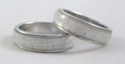 New Genuine Crackled Shell Silver Tone Ring Sizes 6,7,8,9 Available #R1203 ()
