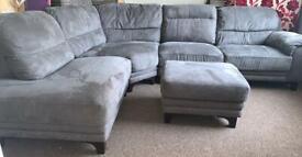 Grey suede corner couch