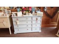 Solid Pine Painted 8 Drawer Chest