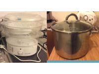 Cookworks 3 tier steamer (vegetable, meat, rice, fish) AND Large stainless steel cooking pot +11L