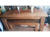 Very large solid wood table and benches