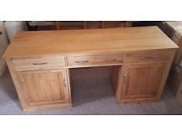 Solid Oak Office Computer Desk with Drawers and Cupboards