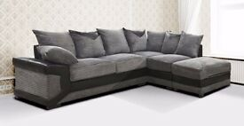 *14-DAY MONEY BACK GUARANTEE!** Dino Cord Fabric Corner Suite or 3 and 2 Sofa Set SAME DAY DELIVERY!