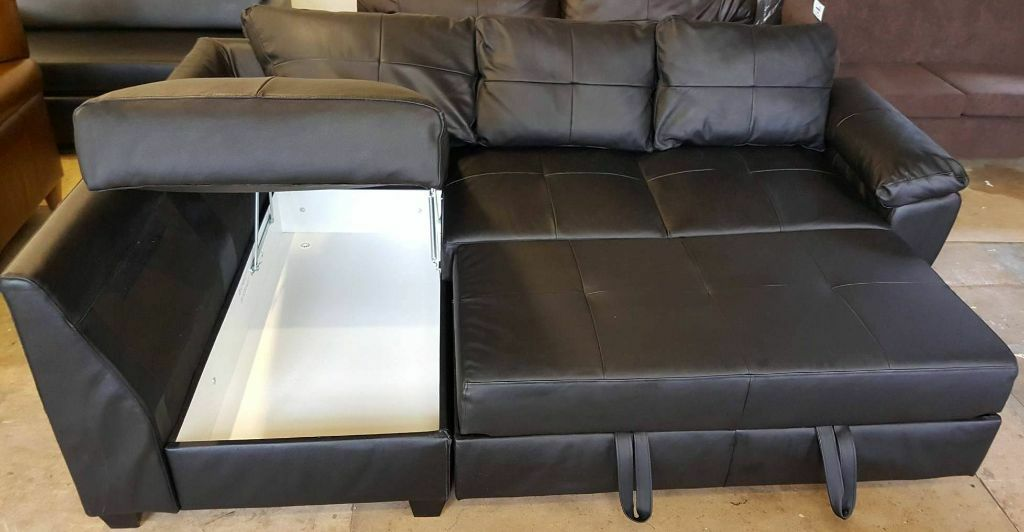 Strange Fernando Real Leather Left Hand Corner Sofa Bed Black Caraccident5 Cool Chair Designs And Ideas Caraccident5Info