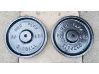 2 x 50lb Reg park metal weight plates