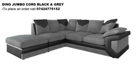 **1 YEAR WARRANTY!** - Dino Premium Fabric Corner Sofa Suite - Express delivery CALL 07424775152