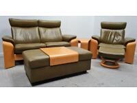 Ekornes Stressless 2 seater recliner leather sofa Chair ottoman stool 1005213
