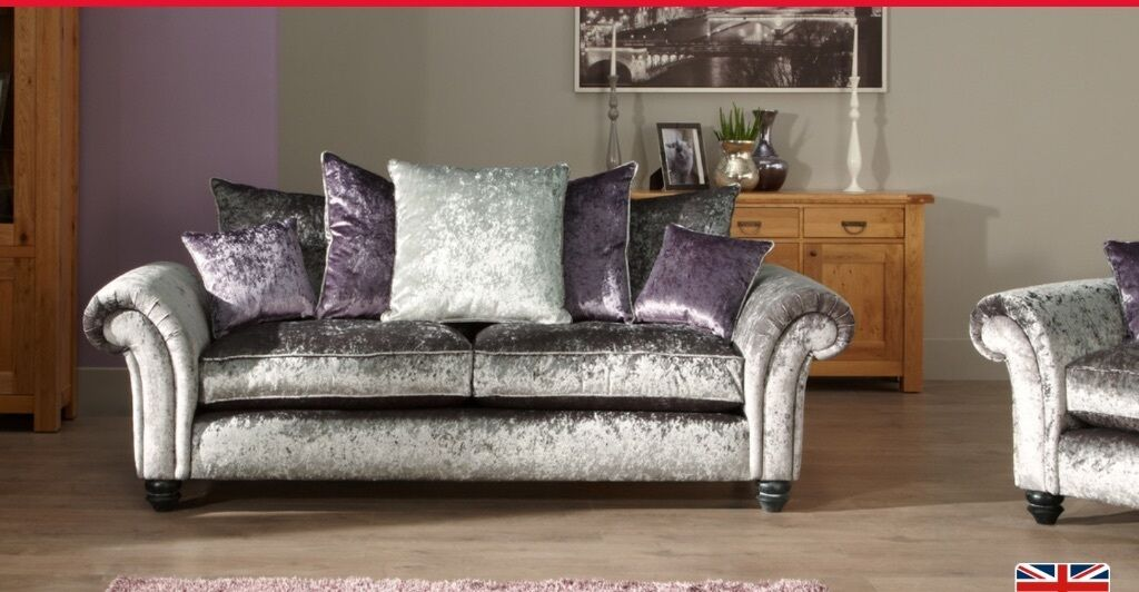 SCS MARILYN (CRUSHED VELVET) 3 SEATER SCATTER BACK SOFA ...