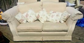 2 seater sofa and 2 armchairs with small cushions