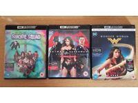 DC 4K UHD Blu Rays - Wonder Woman, Suicide Squad, Batman v Superman