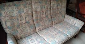 Parker Knoll 3 seater sofa, 2 seater sofa and footstool