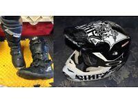 Motocross kit helmet/goggles & boots Enduro off road