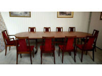 Solid Teak Mid Century Vintage G Plan Dining Table and Ten Chairs