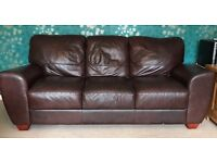Brown leather 3 seater sofa in Cheltenham