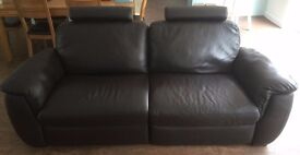 Brown Leather Sofa - Electric Reclining