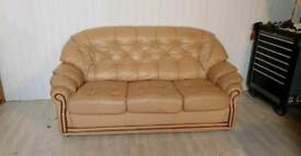 Leather Buttoned Back Sofa