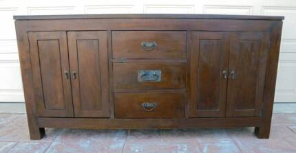 Mahogany / Teak Wooden 4 Door 3 Drawer Sideboard/Buffet / Cabinet