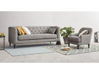 3 Seat Sofa + Armchair + Pouffe in grey linen MADE . com Flynn