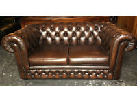 Brown leather Chesterfield 2 seater sofa...
