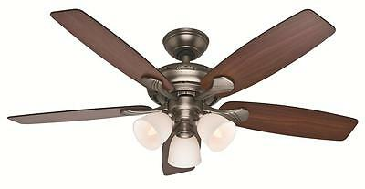 """HUNTER 52"""" Antique Pewter Ceiling Fan with Light Conway 53052"""