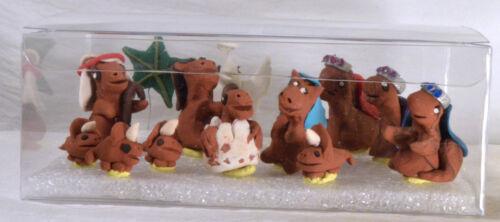 #3009 Dinosaur Miniature Nativity - Handmade Polymer Clay - 13 pieces