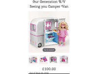 Our generation doll & caravan with accessories, 3 outfits and 3 pairs of shoes