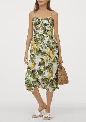 H&M Linen Blend Summer Lemon Green Yellow Dress Size S NWT