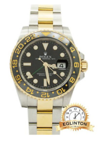 ROLEX GMT MASTER II CERAMIC BEZEL TWO-TONE WATCH 2011 W/ BOX & P