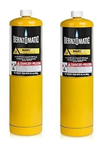 2x Bernzomatic Map Pro Gas Cylinder Torch Tank Auto Pluming Copper pipe Welding