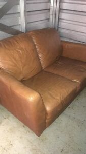 Tan Colour Leather Couch and Chair