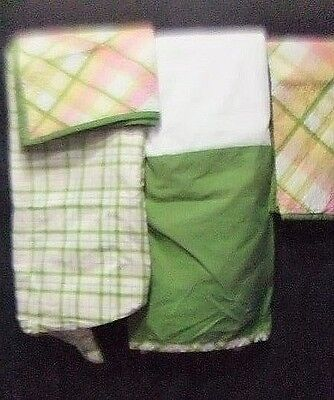 Used,  Size Full Bedskirt Shams Fitted Sheet Green Pink White Plaid Country Chic  for sale  Harrison Township