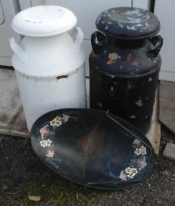 2 milk cans and ash pan