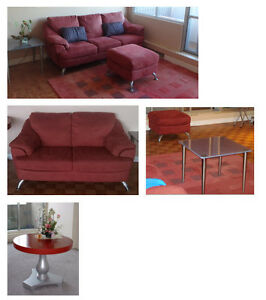 Couch, love seat, carpet, table, coffee tables, ottoman