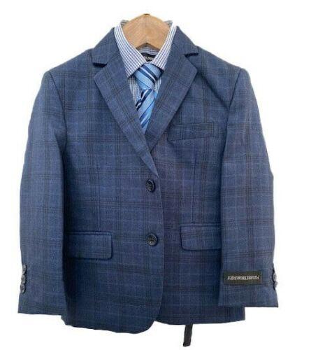 Kids World of USA NEW Blue Plaid Modern Stylish Boys 5 PC Suits Sizes 4-18