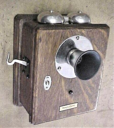 ANTIQUE TIGER OAK TELEPHONE / RINGER BOX - HOTEL ROOM OR OFFICE