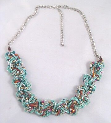 Very Nice New Woven Glass Bead Necklace Great Beachy Green Colors #N2230