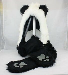 Panda Animal Hood Faux Fur Hat with Warm Scarf Mittens ...