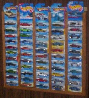 oak hot wheels matchbox display rack frame holds 55 carded  CARS NOT INCLUDED (Oak Display Rack)