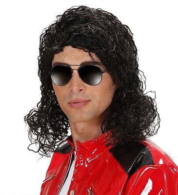 Mens Long Black Michael Jackson Wig King Of Pop Thriller 70s 80s 90s Fancy Dress - Michael Jackson Thriller Wig