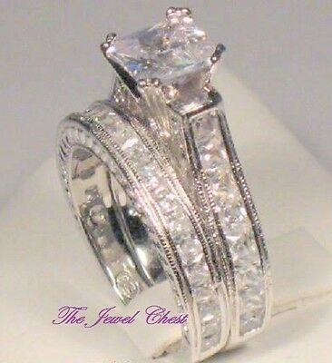 - 3 Ct Princess Diamond Engagement ring Wedding set Antique Style White Gold