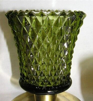 2 Home Interiors Homco Green Diamond Votive Candle Sconce Cups w/ New Grommets