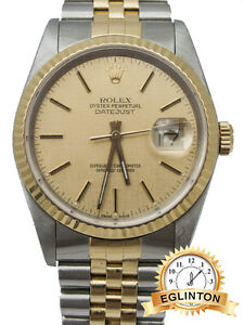ROLEX DATEJUST TWO TONE REF16233 WITH CHAMPAGNE GOLD MOSAIC DIAL