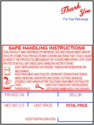 Hobart SP-80/SP-1500/300 Style K Safe Handling Scale Labels