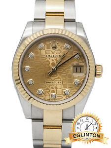 ROLEX DATEJUST 31MM TWO TONE CHAMPAGNE JUBILEE GOLD DIAL DIAMOND
