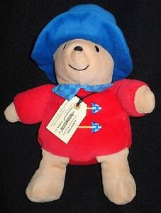 Small Eden Paddington Bear Baby Plush Velour Red Coat Blue Hat