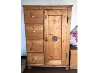 Antique Stripped Pine Cupboard and Drawers